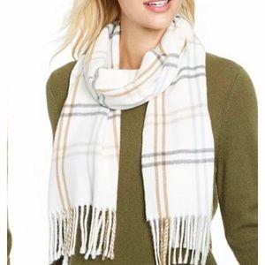 Cejon grid plaid fringe Italian scarf